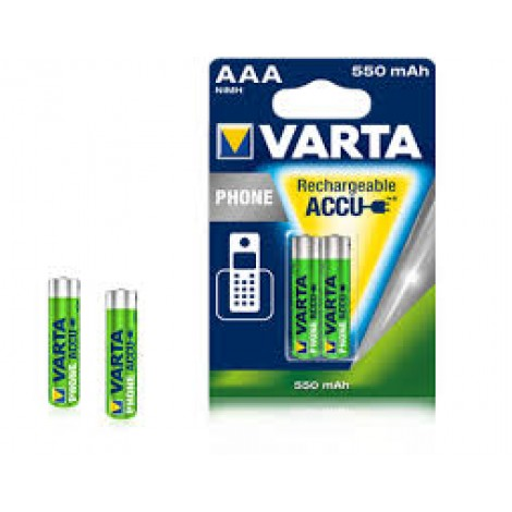 Varta Oplaadbare NiMH Batterij Phone ready to use AAA R03 550mAh Potlood blister van 2stuks