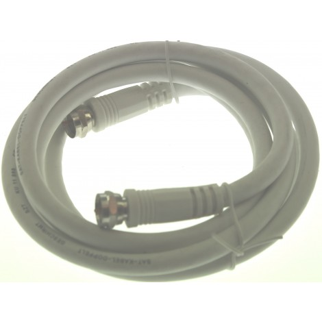 Coaxkabel 1.50Mtr F-Connector F-Male > F-Female 2Xrechte Plug Wit