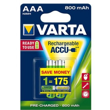 Varta Oplaadbare NiMH Batterij Phone ready to use AAA R03 800mAh Potlood blister van 2stuks