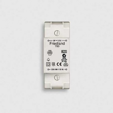 Friedland Transformator D780 8V 1A voor Din-Rail 35mm 91x35x53mm