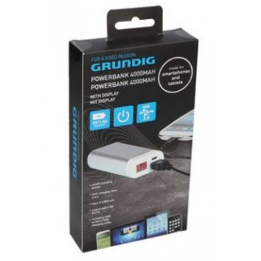 Grundig Oplaadbare Powerbank 4000mAh 22x45x88mm met display