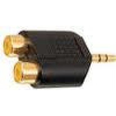 4115 Verloopkabel 3.5Mm Audio Jack > 2X Rca Plug 0.20Mtr Tr.