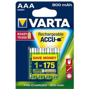 Varta Oplaadbare NiMH Batterij ready to use AAA R03 800mAh Potlood blister van 4stuks