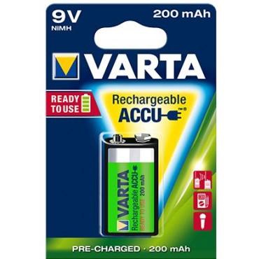 Varta Oplaadbare NiMH Batterij ready to use 9Volt 6LR61 200mAh blister van 1stuks