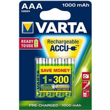 Varta Oplaadbare NiMH Batterij ready to use AAA R03 1000mAh Potlood blister van 4stuks