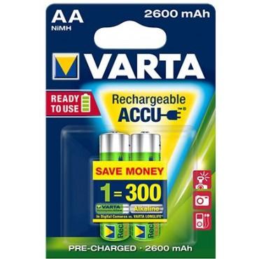 Varta Oplaadbare NiMH Batterij ready to use AA R06 2600mAh Penlite blister van 2stuks