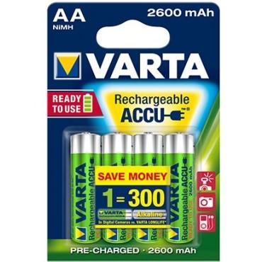 Varta Oplaadbare NiMH Batterij ready to use AA R06 2600mAh Penlite blister van 4stuks