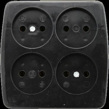 Kaiser Tafelcontactdoos Tcd 4-Voudig Zwart Vierkant 510