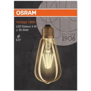 Osram Led Filament Rustieklamp 4-40W E27 Edison 824 Gold Vintage 1906