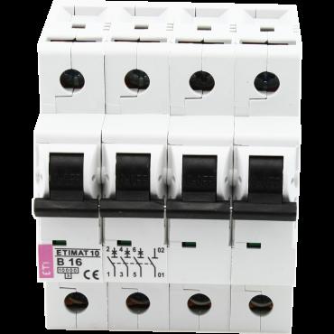 Eti Etimat10 Installatie Automaat 16A C-Kar 3-Fase 4-Module 3P+N 10Ka 400V