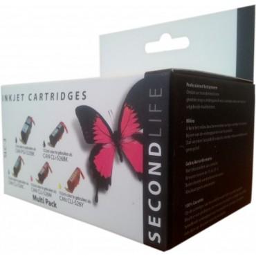 Secondlife Cartridge Multipack Canon SLC-3 Canon 525 Black & 526 Serie Zwart Cyaan Magenta Geel Foto Zwart 11011189