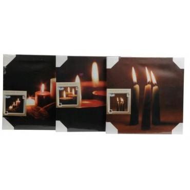 Kerst Canvas doek 8 stuks assortie met led licht set 30x30cm