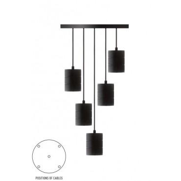 Calex Giant Cord set XXL snoerpendel 5x E40 2m Industrie zwart  965252 rond 400mm