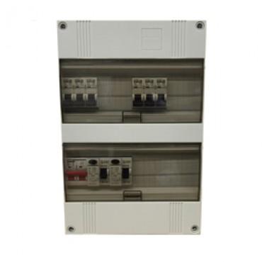 EPP Installatiekast 3-Fase 12x16A 3xaardlek 30mA 1xhoofdschakelaar 63A 400V EPP24 3H-1312 220x330x110mm