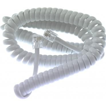 31013  Eurofoon  Telefoon  Hoornsnoer  3.5  Mtr  Rj10  4P4C  SpiraalWit