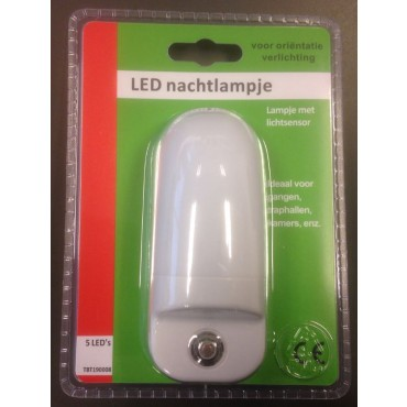 Tbt Nachtlamp LED1W 5leds Echt Wit Stopkontaktlamp Schemerschakelaar