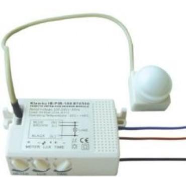 Klemko 870500 Bewegingsmelder Inbouw Ib-Pir-100 Uni Pir Max 1000W 360graden omtrek 6meter Lux En Tijd Instelbaar
