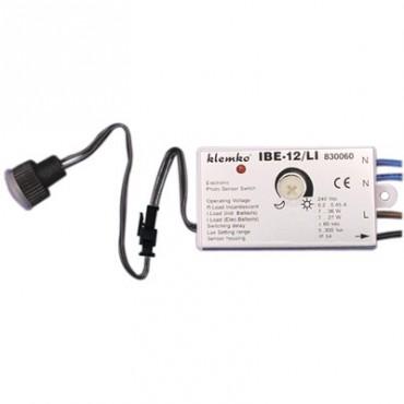 Klemko Inbouw Schemerschakelaar 830060 IBE-12LI 0,5A lux instelbaar tussen 5-300Lux met losse sensor IP55 55x32x15mm inbouwdiameter 12mm