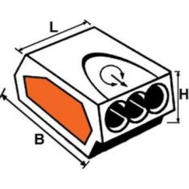 Klemko Lasklem Lasdop 3-Gat Transparant 101682 Voor Ader 0.75 - 2.5 Mm2