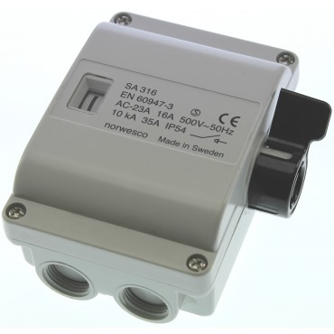 Werkschakelaar SA316 3p 16A/500V M20 grijs IP54 310010 07394438100108