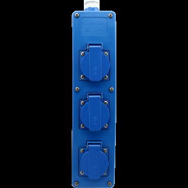 Tafelcontactdoos Tcd 3-Voudig Ra Blauw Stootvast En Waterdicht Ip44