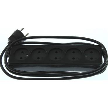 Tafelcontactdoos TCD 5-Voudig 2meter Snoer Zwart