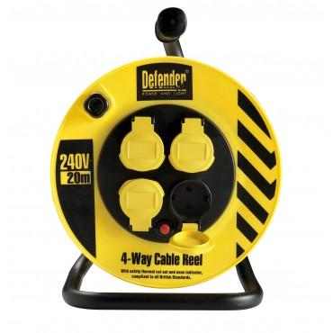 Defender Snoerhaspel 25meter Met Beveiliging H05VV 3x1.5mm2 Kabelhaspel