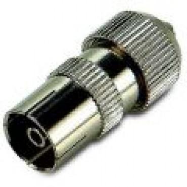 Coax Plug Female Recht Metaal