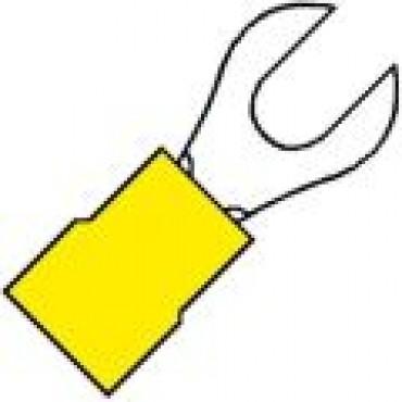 Klemko Geisoleerde vorkkabelschoen M10 voor draad 4,0-6,0 mm2 101020 - A 4610 G verpakt per 100stuks