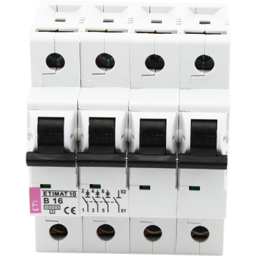 Eti Etimat10 Installatie Automaat 16A B-Kar 3-Fase 4-Module 3P+N 10Ka 400V
