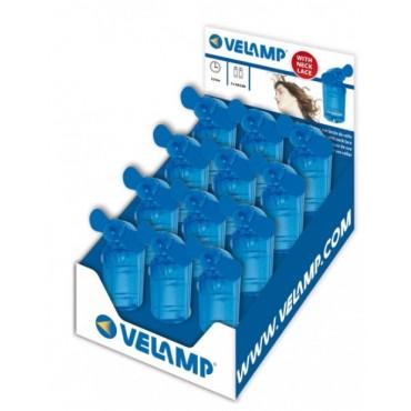 Velamp Hand Ventilator 2xAA bat bladen van zacht rubber Blauw 12st dis